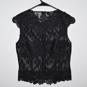 NEW ANGL Lace Blouse Top Black